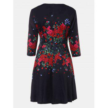 V-neck Positioning Flowers Print With3/4 sleeves A-line Dress - BLACK XL