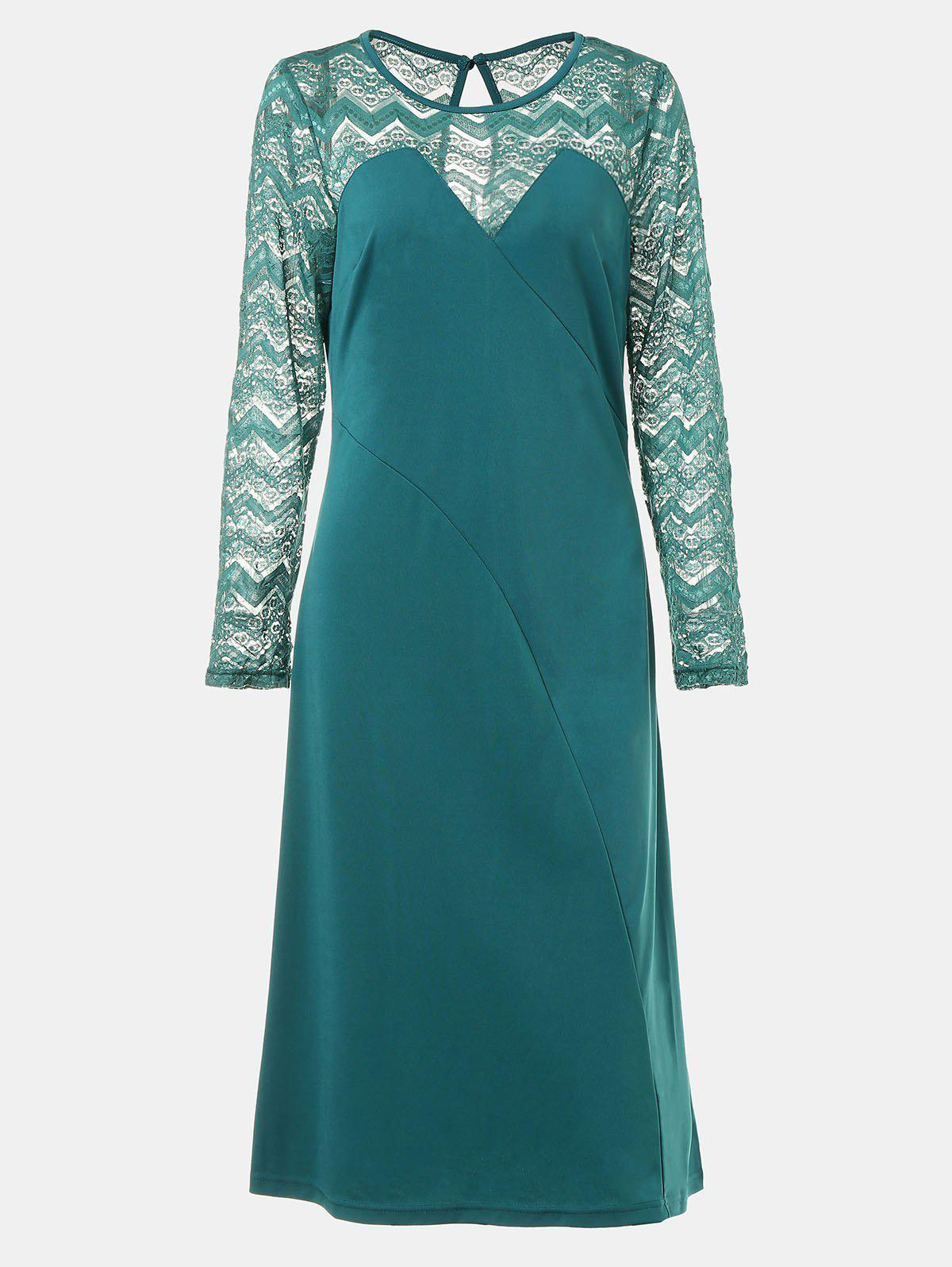 Round Collar Long Sleeve Lace Patchwork A-line Midi Dress - MARINE GREEN M