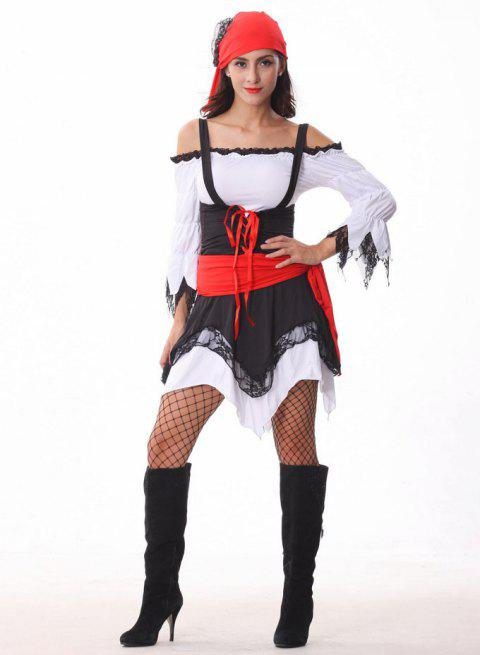 Women's Patchwork Colour Pirate Halloween Costume - RED/WHITE ONE SIZE