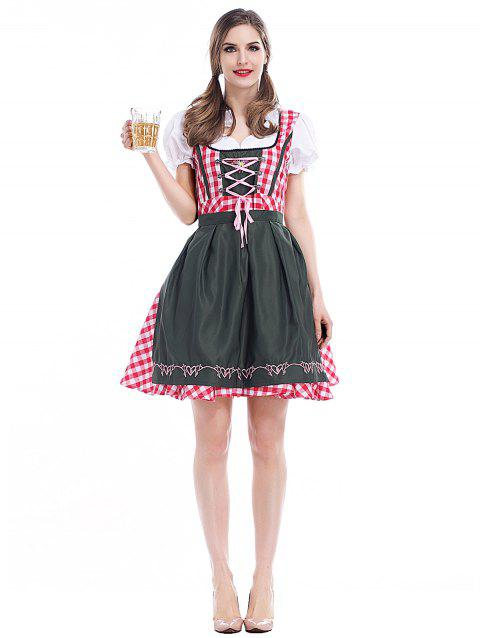 Women's Cosplay Beer Costume Maid - CHECKED XL