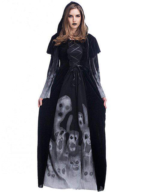 Women's Skull Witch Long Vampire Suit Dress Costume - SKULL L