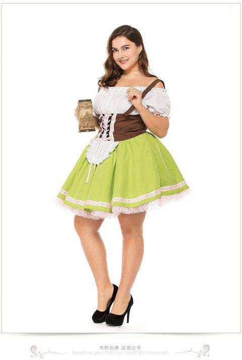 Orgshine  German Oktoberfest Maid Costume Oktoberfest Cosplay Party Performance Costume Game Uniform - GREEN 2XL