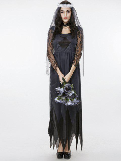 Women's Zombie Ghost Bride Fancy Dress Halloween Costume - BLACK/GREY 2XL