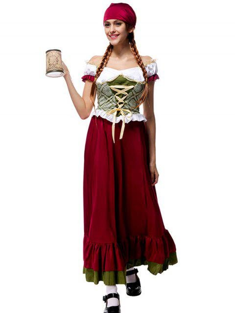 Halloween Costume Sexy Beer Girl Women's Lace up Long Dress With Headband - WINE RED XL