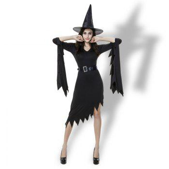 Halloween Costumes Witch Women's Black Dress With Witch Hat - BLACK XL
