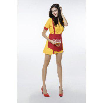 Waitress Uniform Cosplay Fancy Dress  Party Costume - YELLOW L
