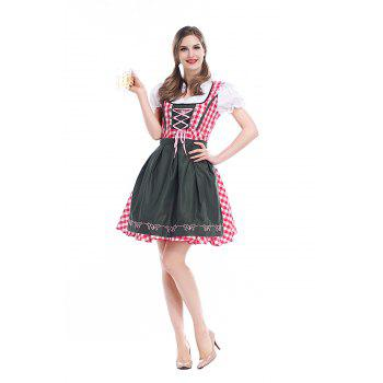 Women's Cosplay Beer Costume Maid - CHECKED M