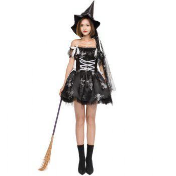 Halloween cosplay costume witch dress rose print witch game dress strapless tight waist ball gown - BLACK ONE SIZE