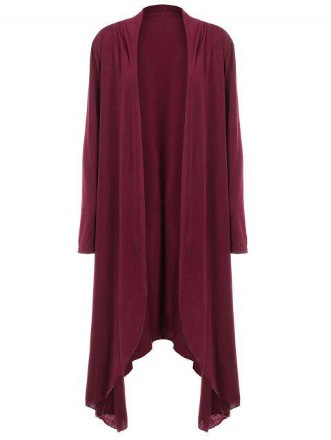Women Casual Long Sleeve Solid Irregular Hem Open Front Cardigan - RED WINE M