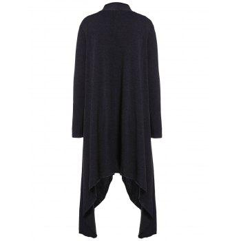 Women Casual Long Sleeve Solid Irregular Hem Open Front Cardigan - BLACK M