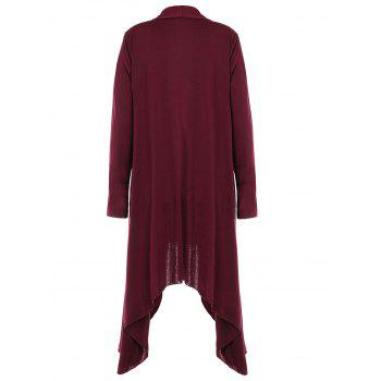Women Casual Long Sleeve Solid Irregular Hem Open Front Cardigan - RED WINE XL