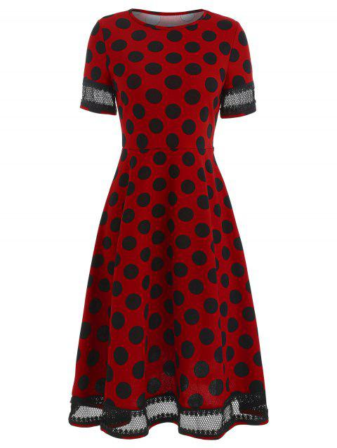 Women's Round Neck Short Sleeves See-through Lace Patchwork Dot Printing Dress - RED XL