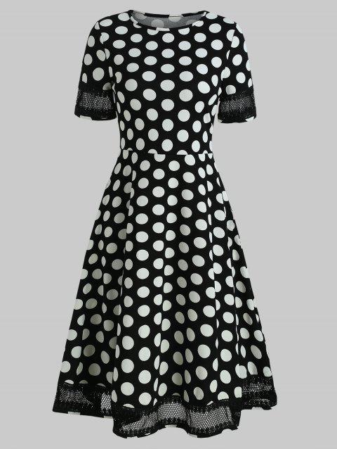 Women's Round Neck Short Sleeves See-through Lace Patchwork Dot Printing Dress - BLACK L