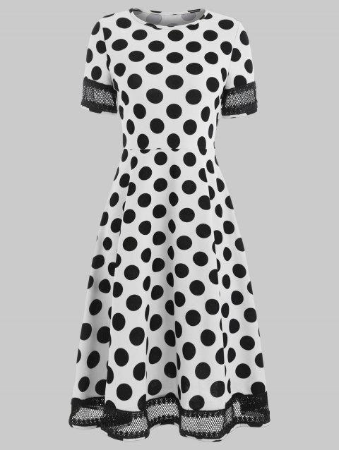 Women's Round Neck Short Sleeves See-through Lace Patchwork Dot Printing Dress - WHITE XL
