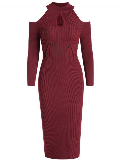 Women's Stand Collar Dew Shoulder Long Sleeved Bodycon Dress - RED WINE M