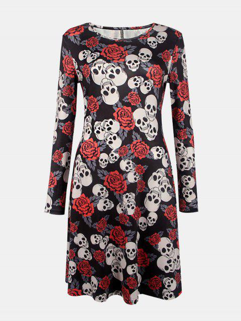 Women's Round Neck Long Sleeves Halloween Printing A-line Dress - BLACK S