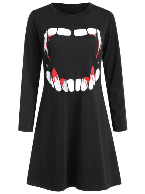 Women's Round Neck Long Sleeve Halloween Printing A-line Dress - BLACK L
