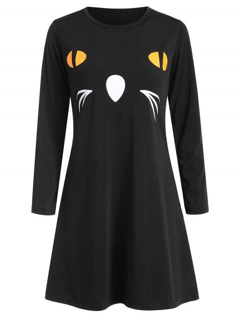 Women's Round Neck Long Sleeve Halloween Printing A-line Dress - NATURAL BLACK L