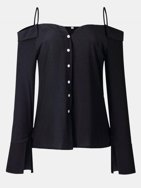 Women's Solid Color Dew Shoulder Long Sleeved Button-down Tops - BLACK M