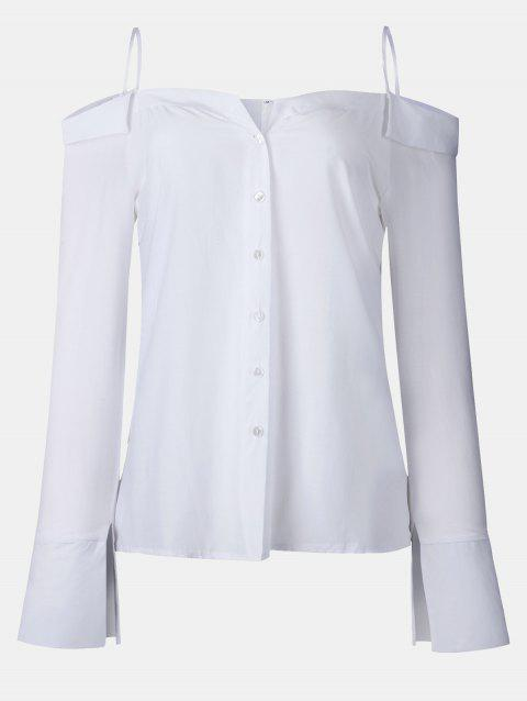 Women's Solid Color Dew Shoulder Long Sleeved Button-down Tops - WHITE M