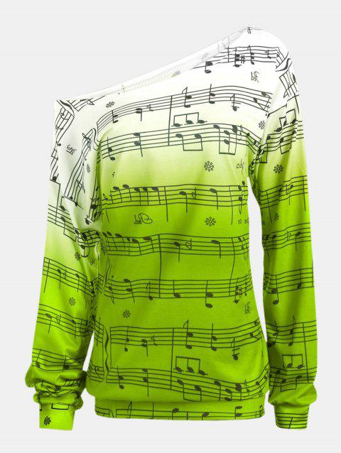 Personality Gradually Change Color Note Printing Loose Long Sleeve Top - GREEN M