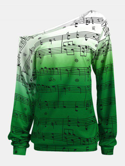 Personality Gradually Change Color Note Printing Loose Long Sleeve Top - JUNGLE GREEN S