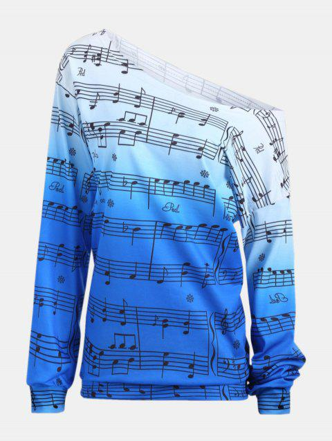 Personality Gradually Change Color Note Printing Loose Long Sleeve Top - BLUE M