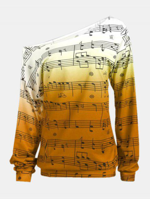 Personality Gradually Change Color Note Printing Loose Long Sleeve Top - YELLOW L