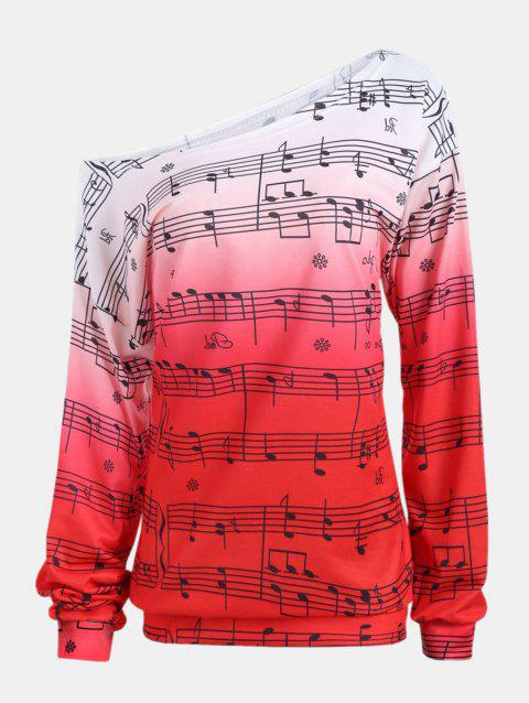 Personality Gradually Change Color Note Printing Loose Long Sleeve Top - RED 2XL