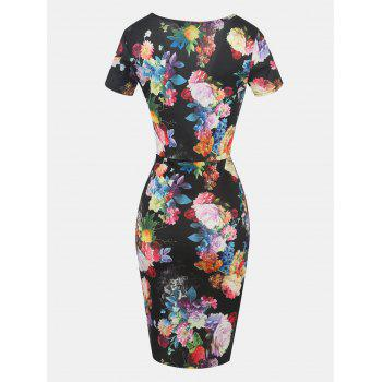 Printed V Neck Short Sleeve Pleated Bodycon Dress - BLACK M