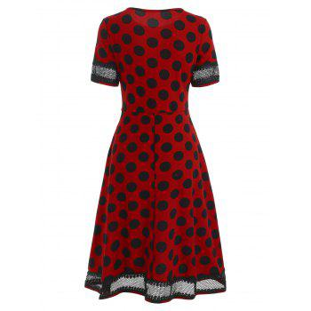 Women's Round Neck Short Sleeves See-through Lace Patchwork Dot Printing Dress - RED L
