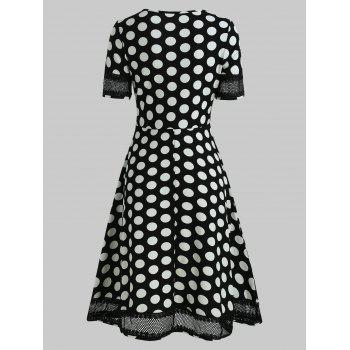 Women's Round Neck Short Sleeves See-through Lace Patchwork Dot Printing Dress - BLACK XL
