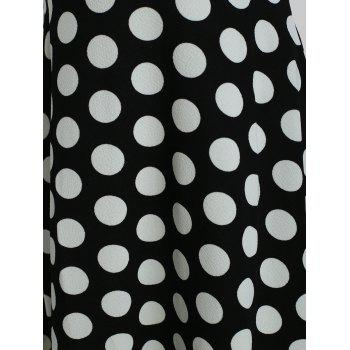 Women's Round Neck Short Sleeves See-through Lace Patchwork Dot Printing Dress - BLACK S