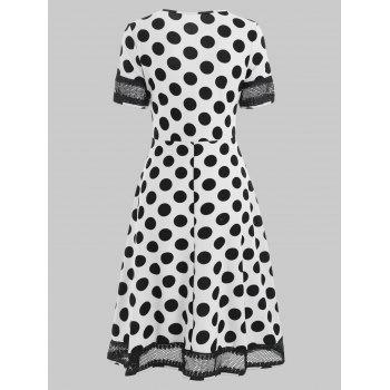 Women's Round Neck Short Sleeves See-through Lace Patchwork Dot Printing Dress - WHITE L
