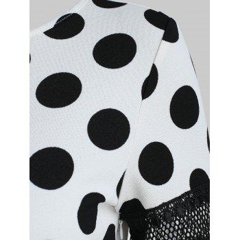 Women's Round Neck Short Sleeves See-through Lace Patchwork Dot Printing Dress - WHITE S