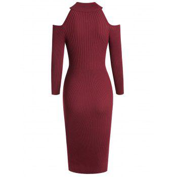 Women's Stand Collar Dew Shoulder Long Sleeved Bodycon Dress - RED WINE XL