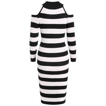 Women's Stand Collar Dew Shoulder Long Sleeved Bodycon Dress - NATURAL BLACK M