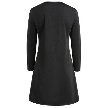 Women's Round Neck Long Sleeve Halloween Printing A-line Dress - NATURAL BLACK S