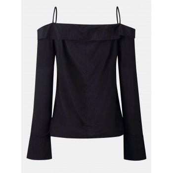 Women's Solid Color Dew Shoulder Long Sleeved Button-down Tops - BLACK S