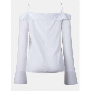 Women's Solid Color Dew Shoulder Long Sleeved Button-down Tops - WHITE S