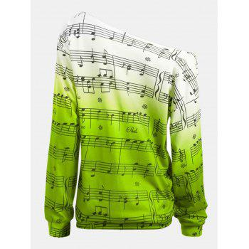 Personality Gradually Change Color Note Printing Loose Long Sleeve Top - GREEN S