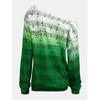 Personality Gradually Change Color Note Printing Loose Long Sleeve Top - JUNGLE GREEN 2XL