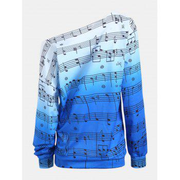 Personality Gradually Change Color Note Printing Loose Long Sleeve Top - BLUE S