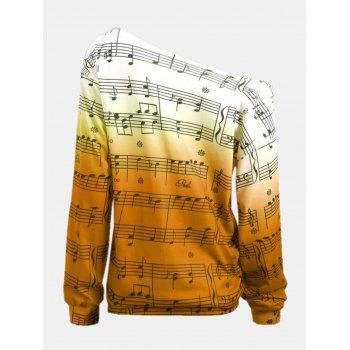 Personality Gradually Change Color Note Printing Loose Long Sleeve Top - YELLOW S