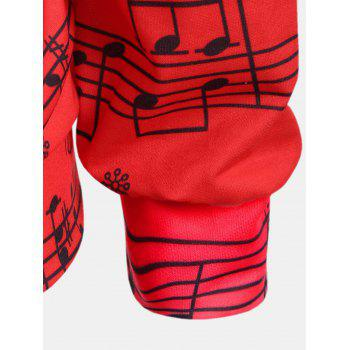 Personality Gradually Change Color Note Printing Loose Long Sleeve Top - RED XL