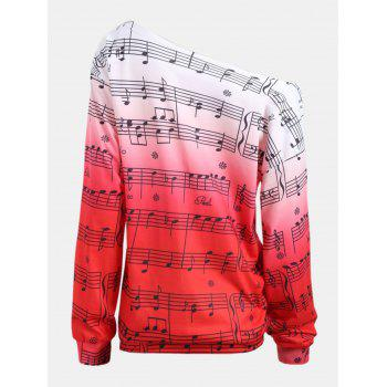 Personality Gradually Change Color Note Printing Loose Long Sleeve Top - RED S