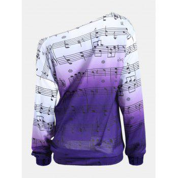 Personality Gradually Change Color Note Printing Loose Long Sleeve Top - PURPLE XL
