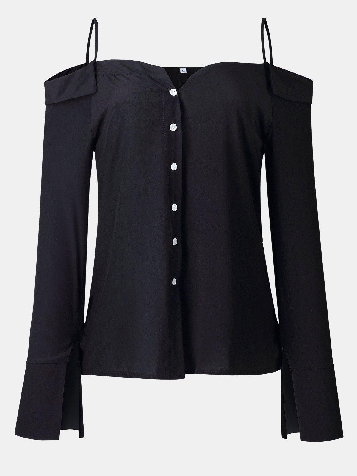 Women's Solid Color Dew Shoulder Long Sleeved Button-down Tops - BLACK L
