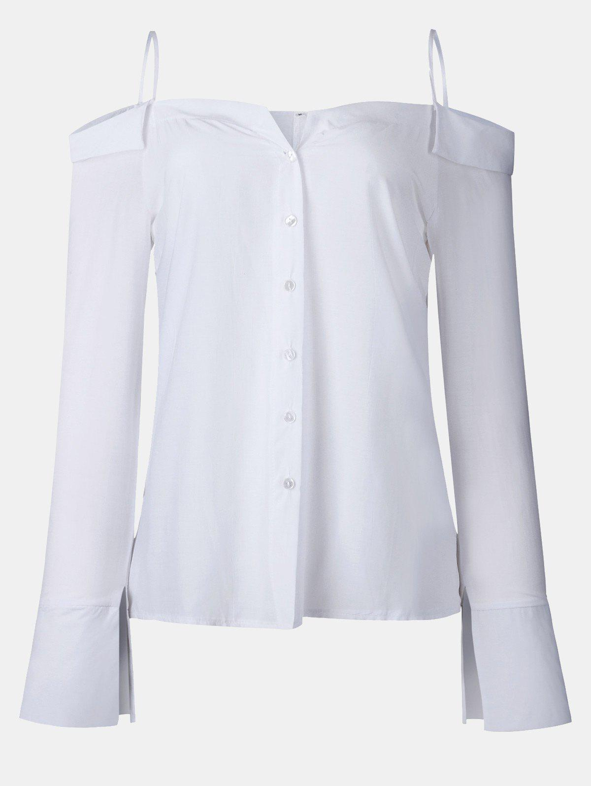Women's Solid Color Dew Shoulder Long Sleeved Button-down Tops - WHITE XL