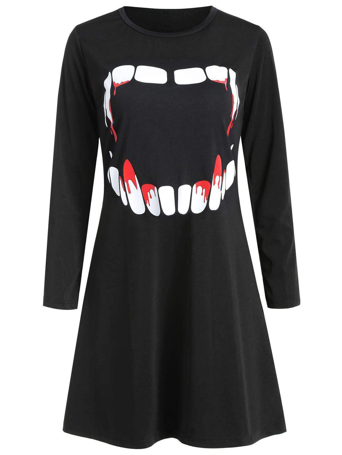 Women's Round Neck Long Sleeve Halloween Printing A-line Dress - BLACK S